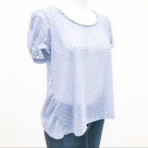 Urban Outfitters Sheer Purple Dot Blouse